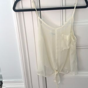 Cream see through going out top